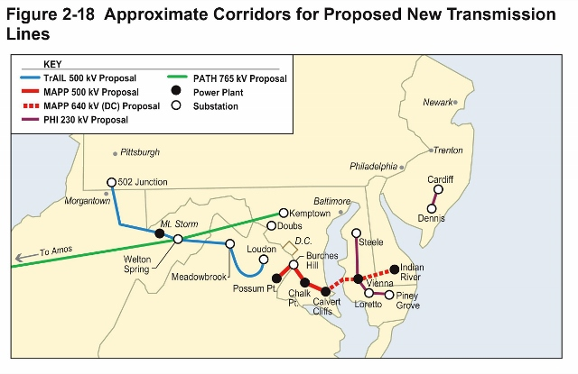 The Approximate Corridors for Proposed New Transmission Lines maps power line construction that is under consideration.