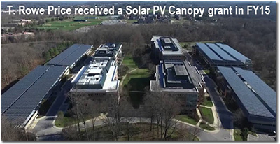 T. Rowe Price received a Solar PV Canopy grant in FY15