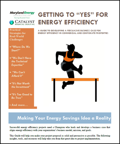 "The ""Getting to 'Yes' for Energy Efficiency"" cover page shows an athlete jumping over a hurdle."